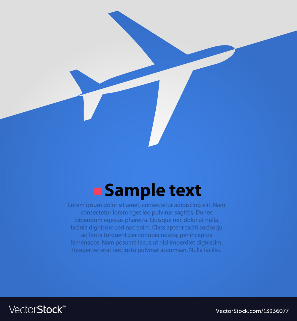 Airplane flight blue background