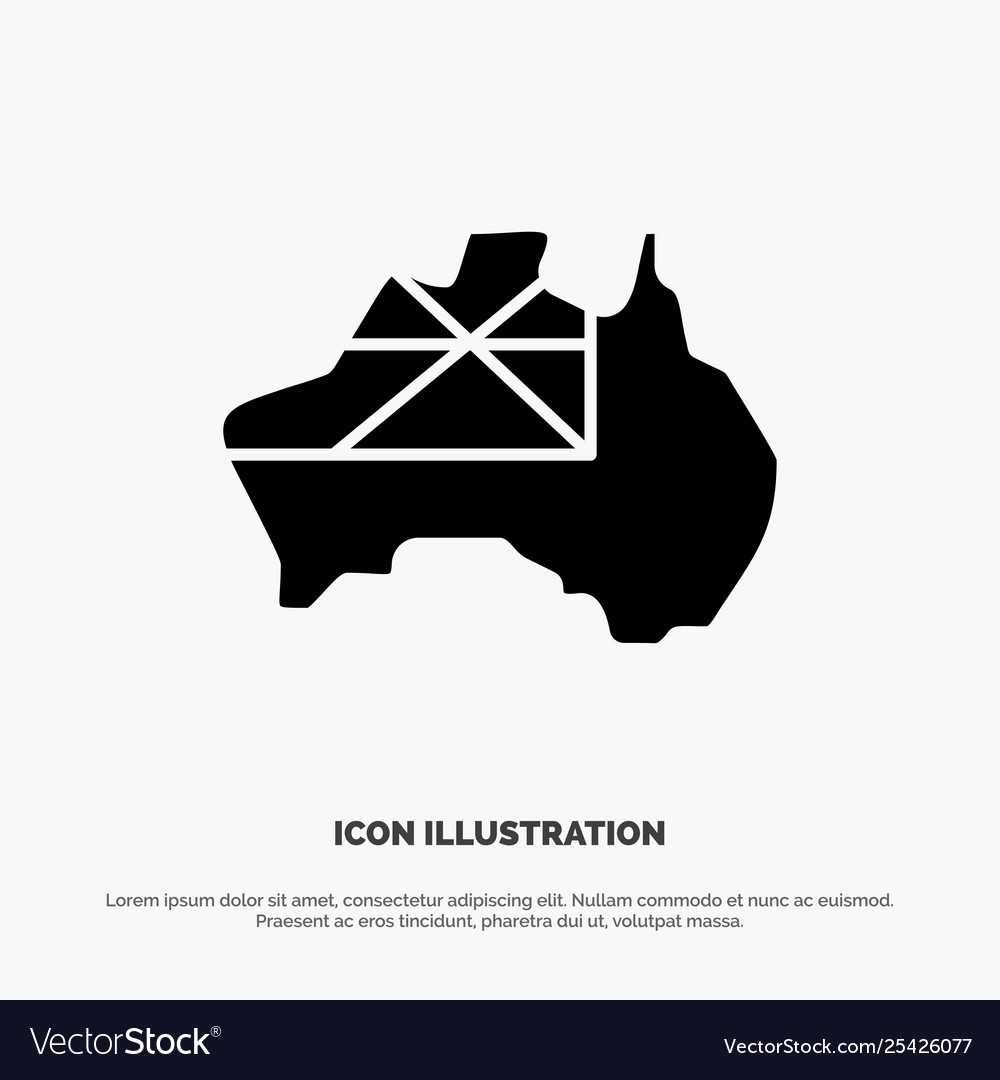 Australia Map Icon.Australia Map Country Flag Solid Glyph Icon