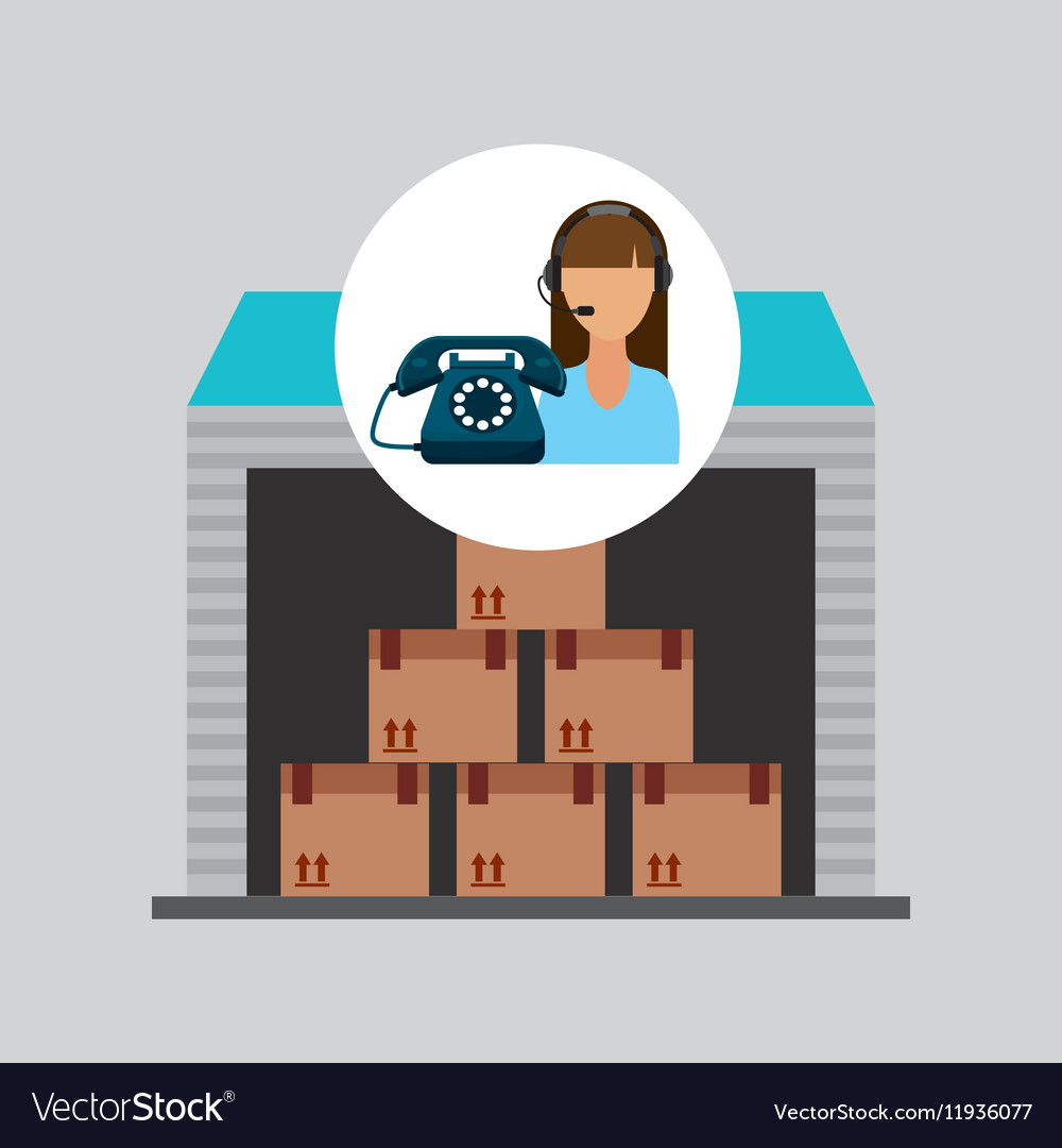 Call centre woman working storage package