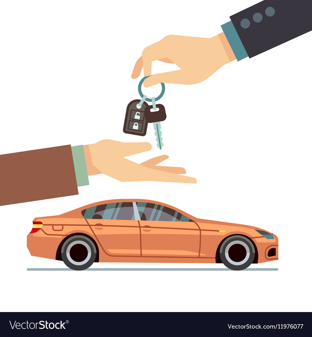 Car seller hand giving key to buyer Buying or