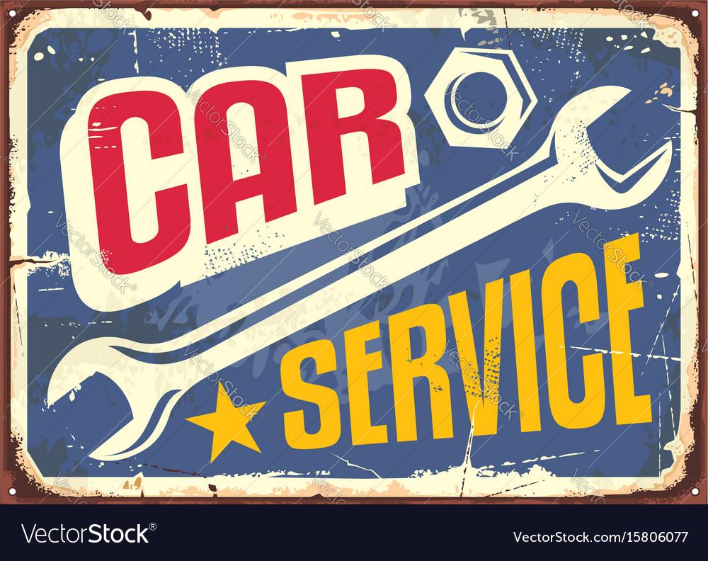 Car service vintage sign