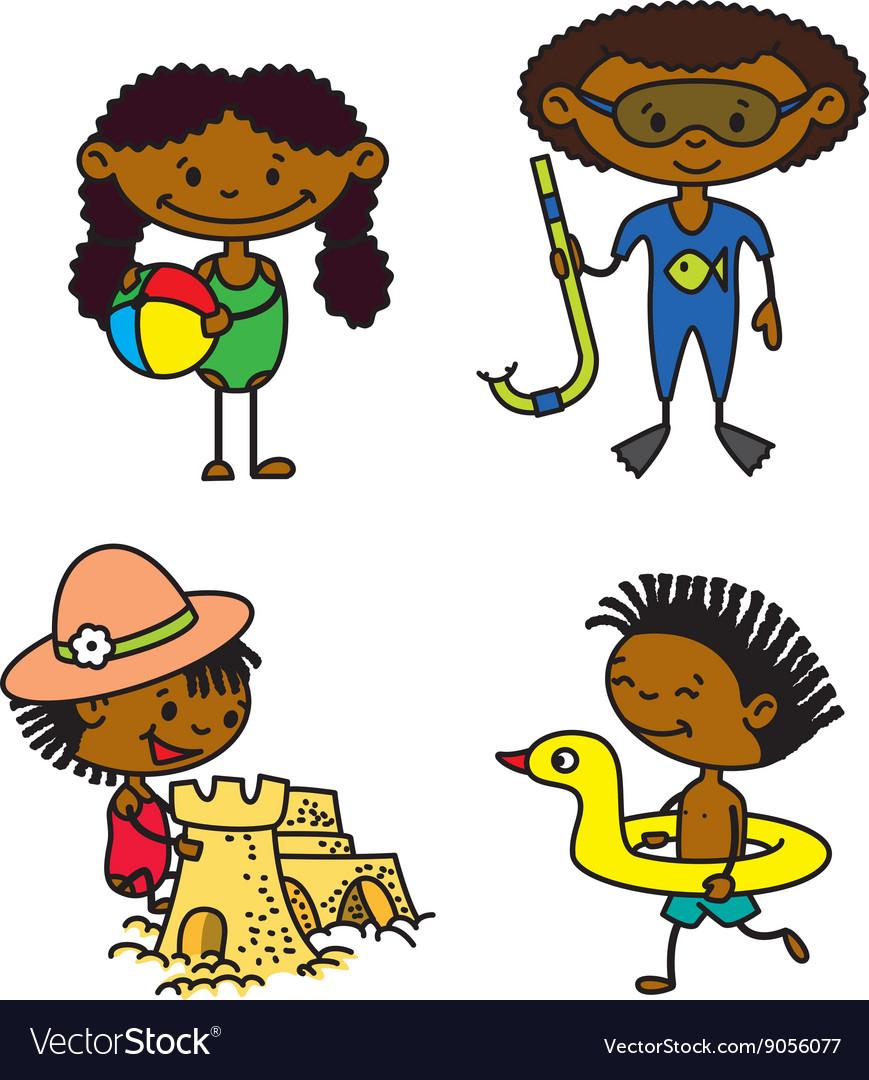 Cute summer afroamerican children