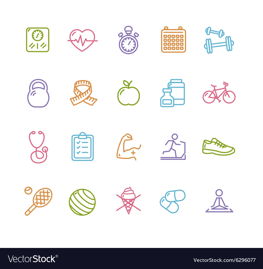 Fytness Health Colorful Outline Icon Set vector image