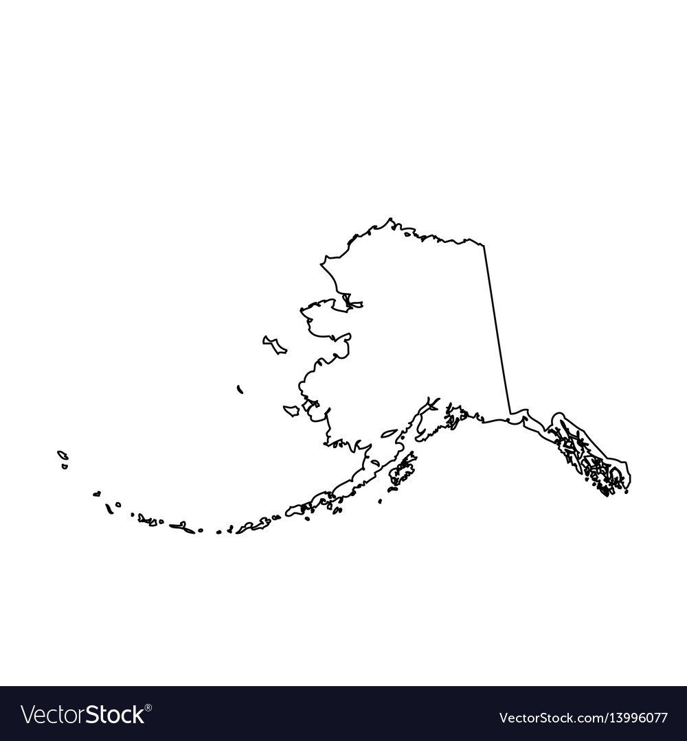 Map of the us state alaska Royalty Free Vector Image