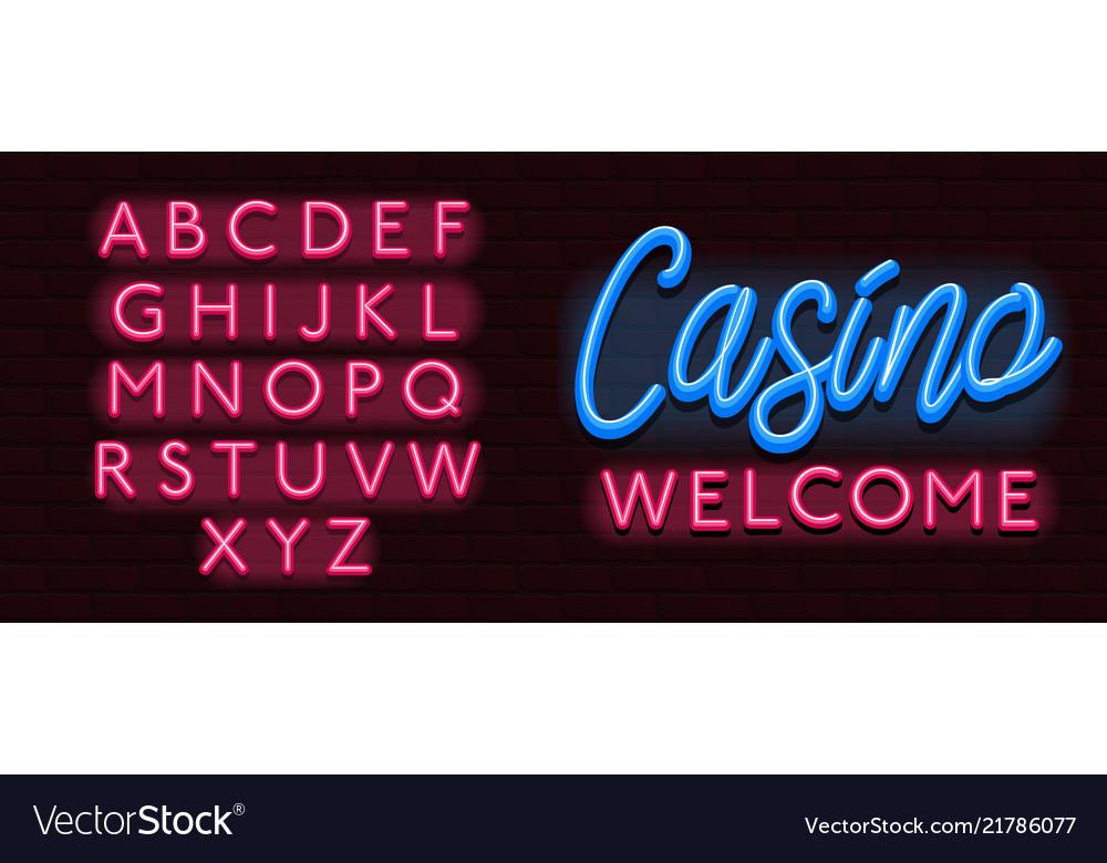 Neon banner alphabet font bricks wall casino