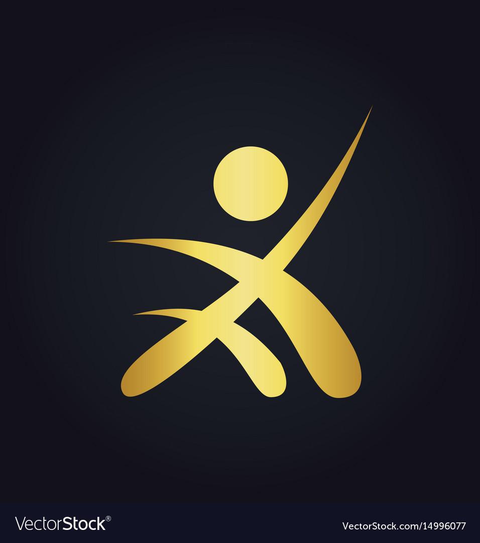 People success sport leader gold logo