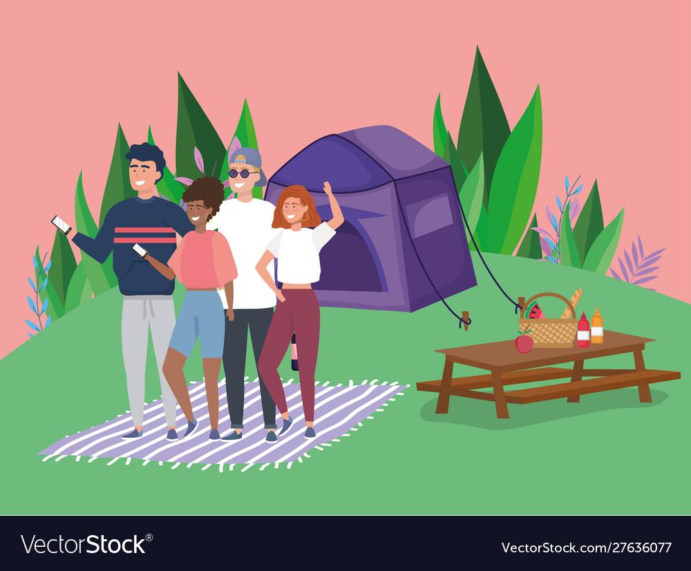 People using mobile tablet food tent blanket