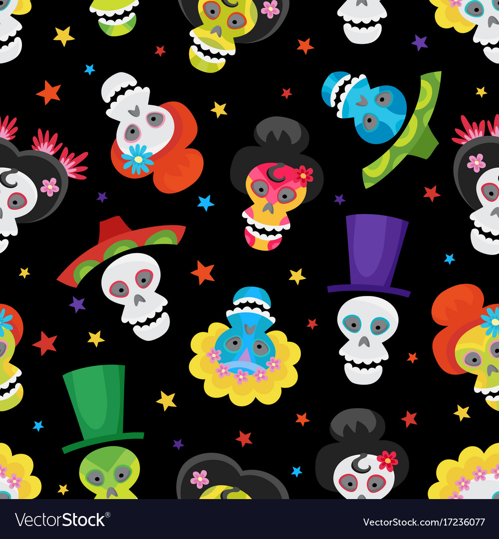 Seamless pattern with colorful skulls and stars