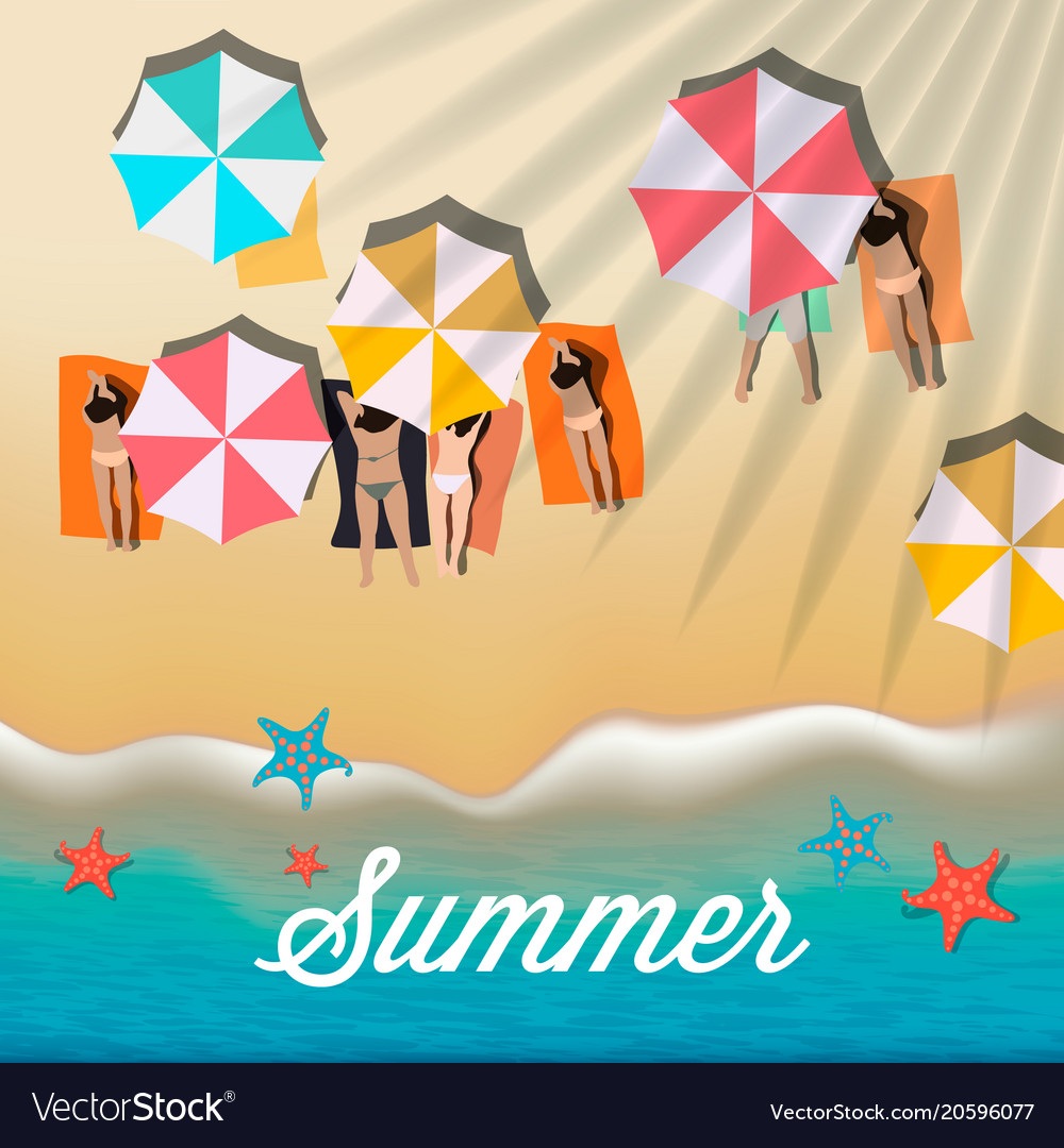 Summer background with girls tanning in the sun vector image
