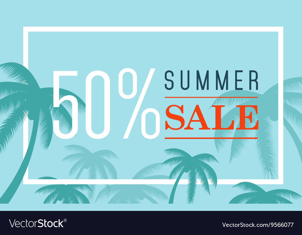 Summer sale banner Palm silhouette and