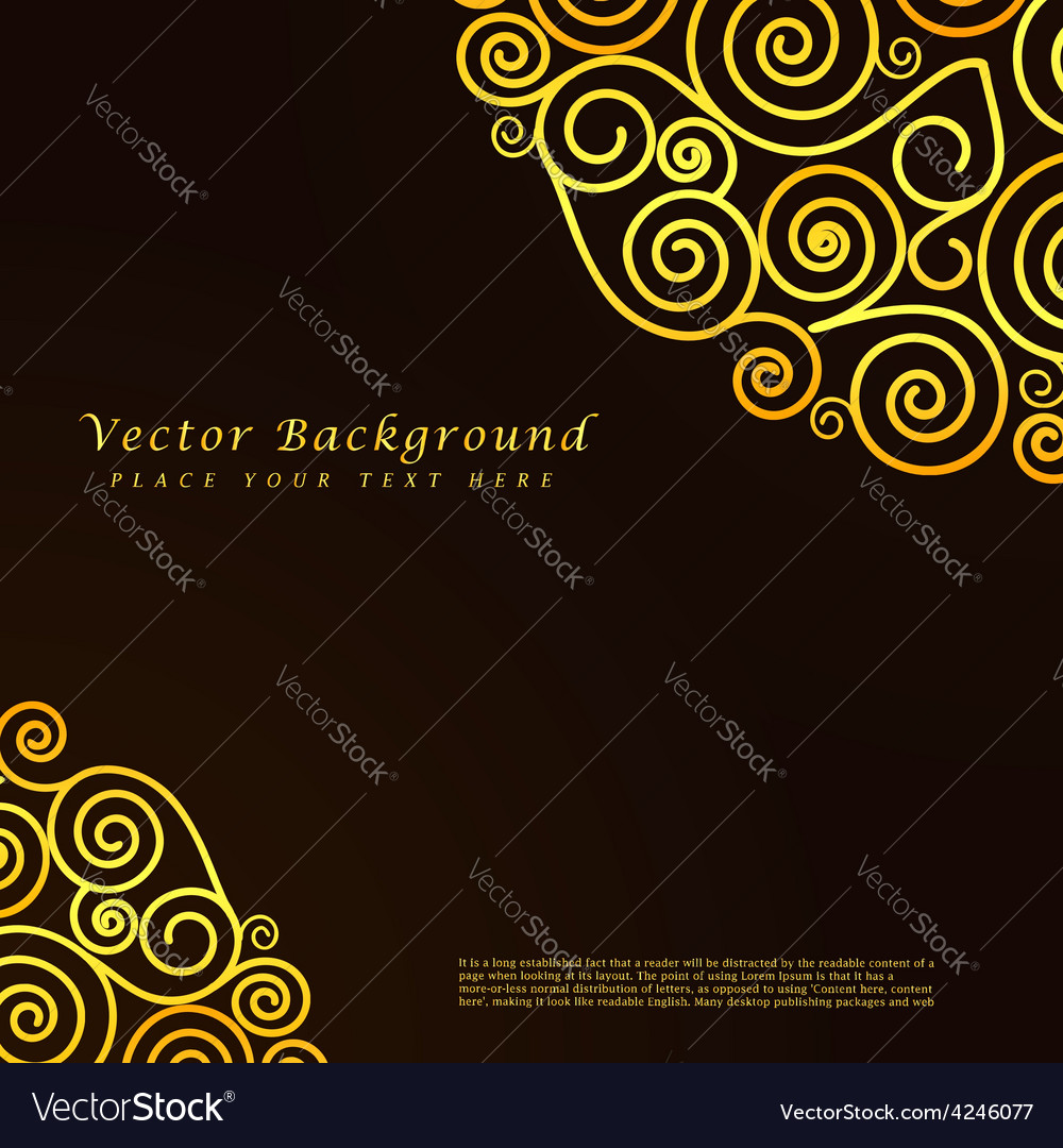 Vintage abstract background with golden vector image
