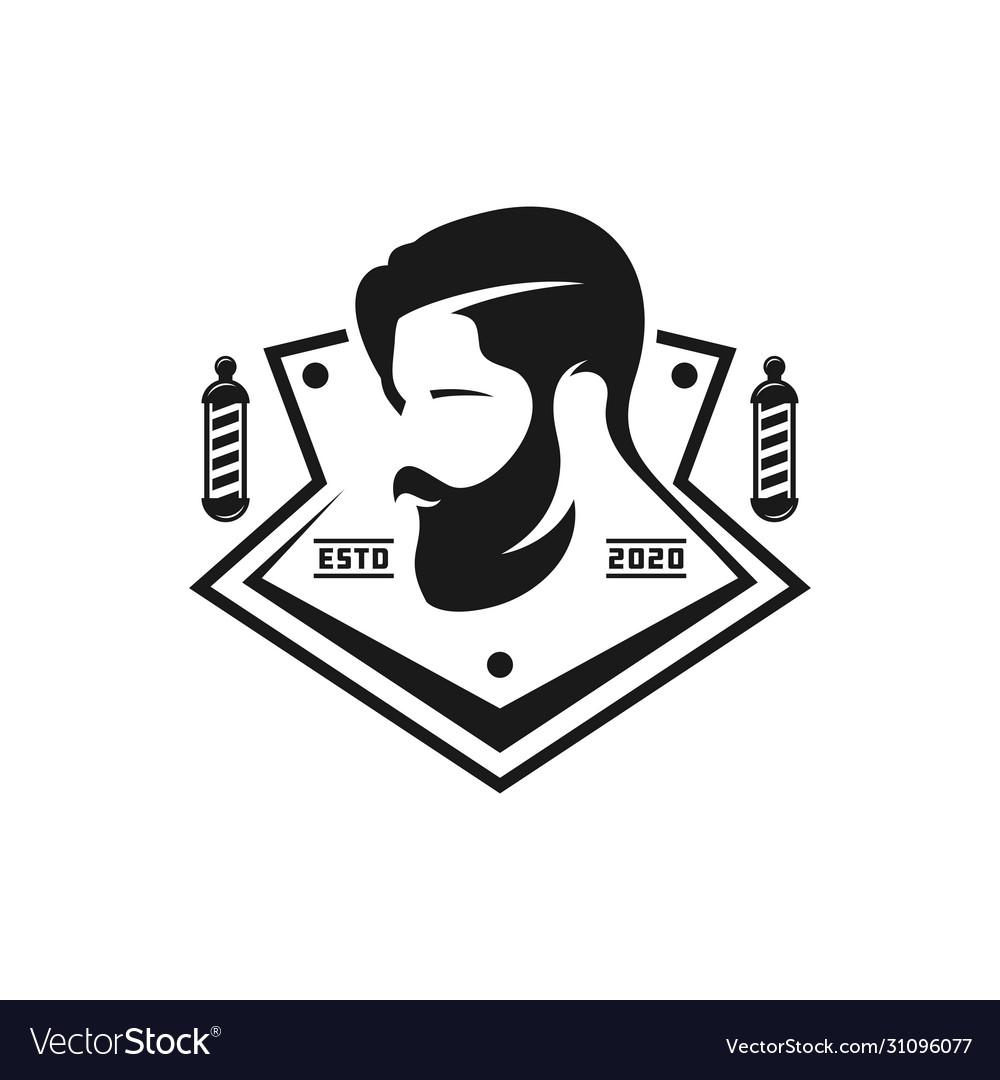 Vintage Logo Design Men39s Hair Salon Royalty Free Vector