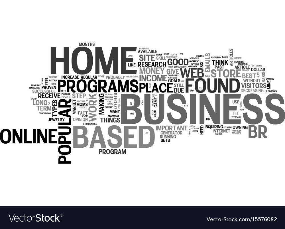 Best home based business opportunities text word vector image on VectorStock