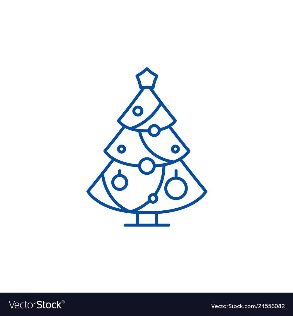 Christmas decoration tree line icon concept