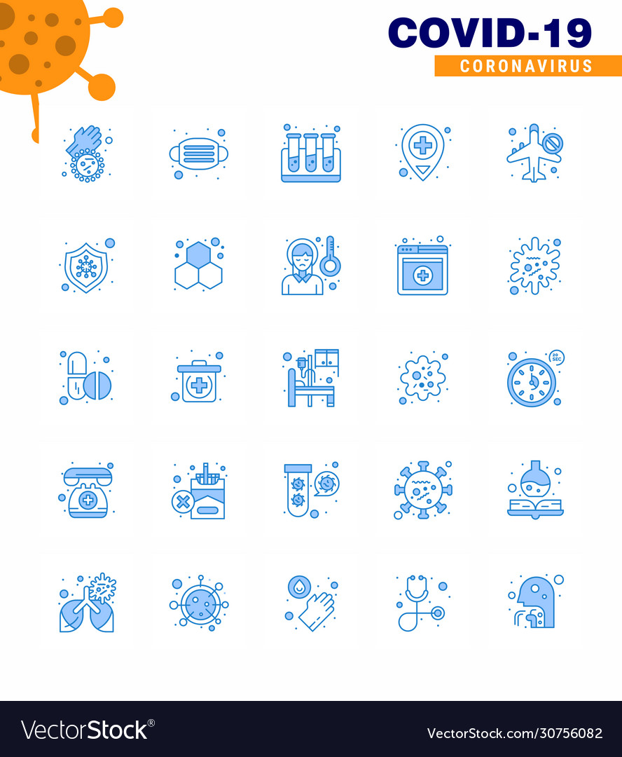 Coronavirus prevention set icons 25 blue icon