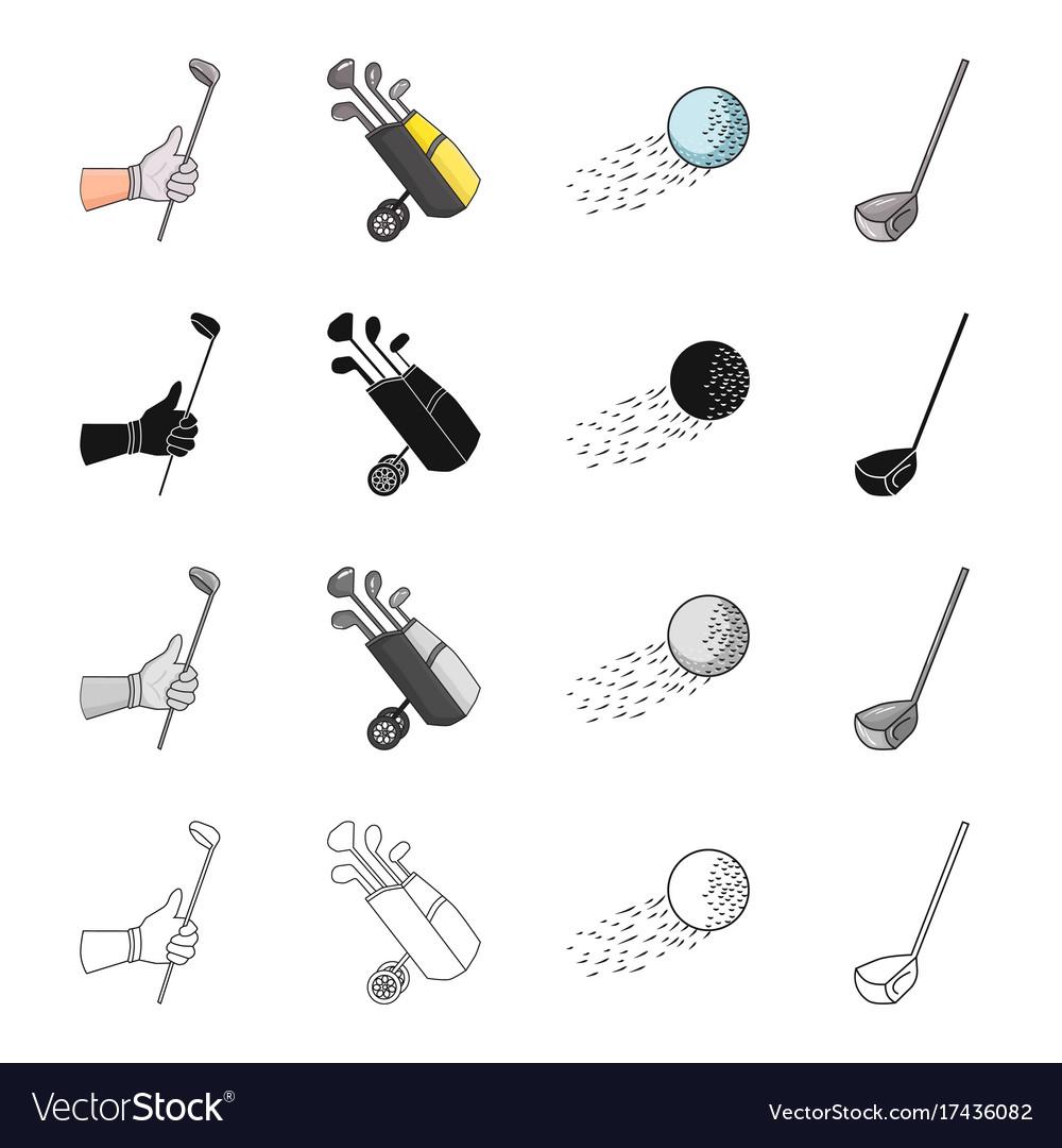 Golf stick in hand putter in bag ball in flight