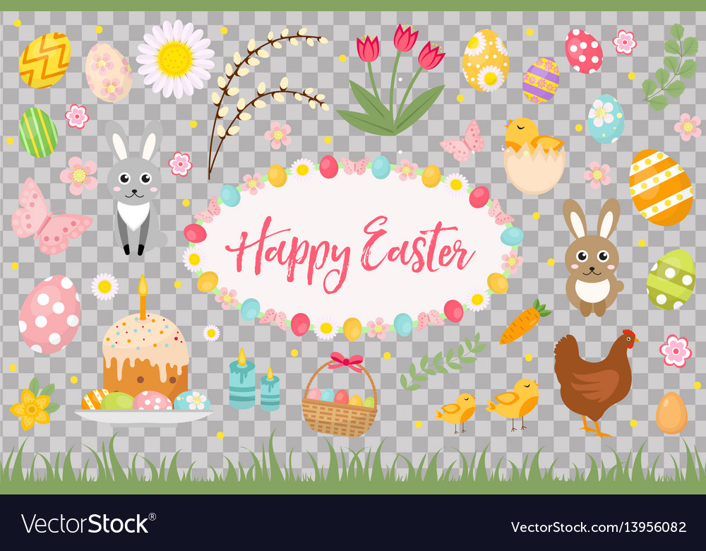 Happy easter collection object design element