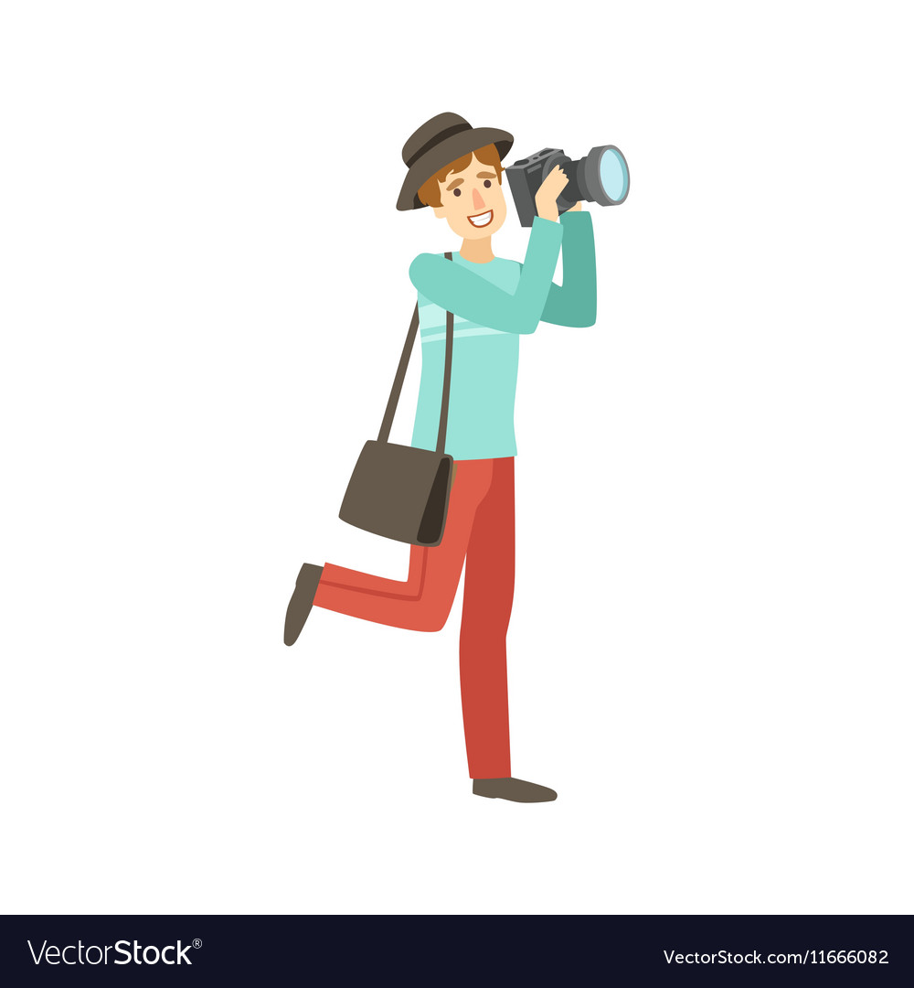 Professional Photographer Taking Pictures With vector image