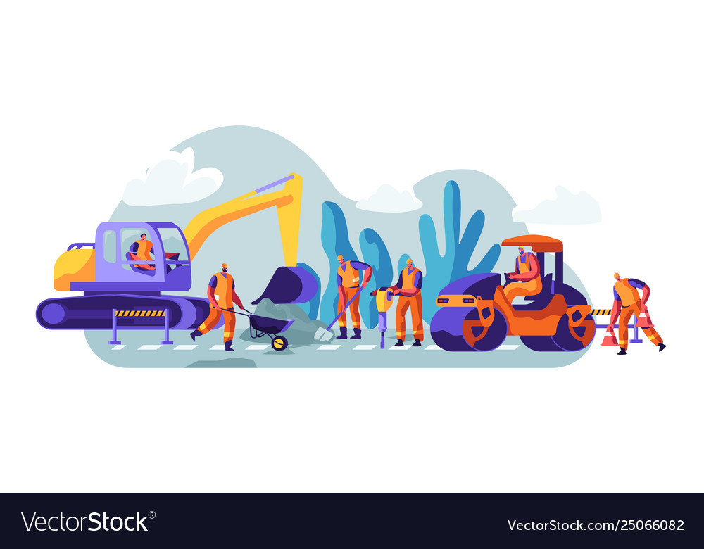 Road repair with construction machines and working