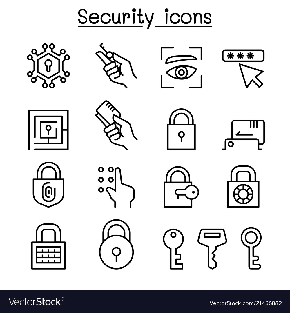 Security icon set in thin line style