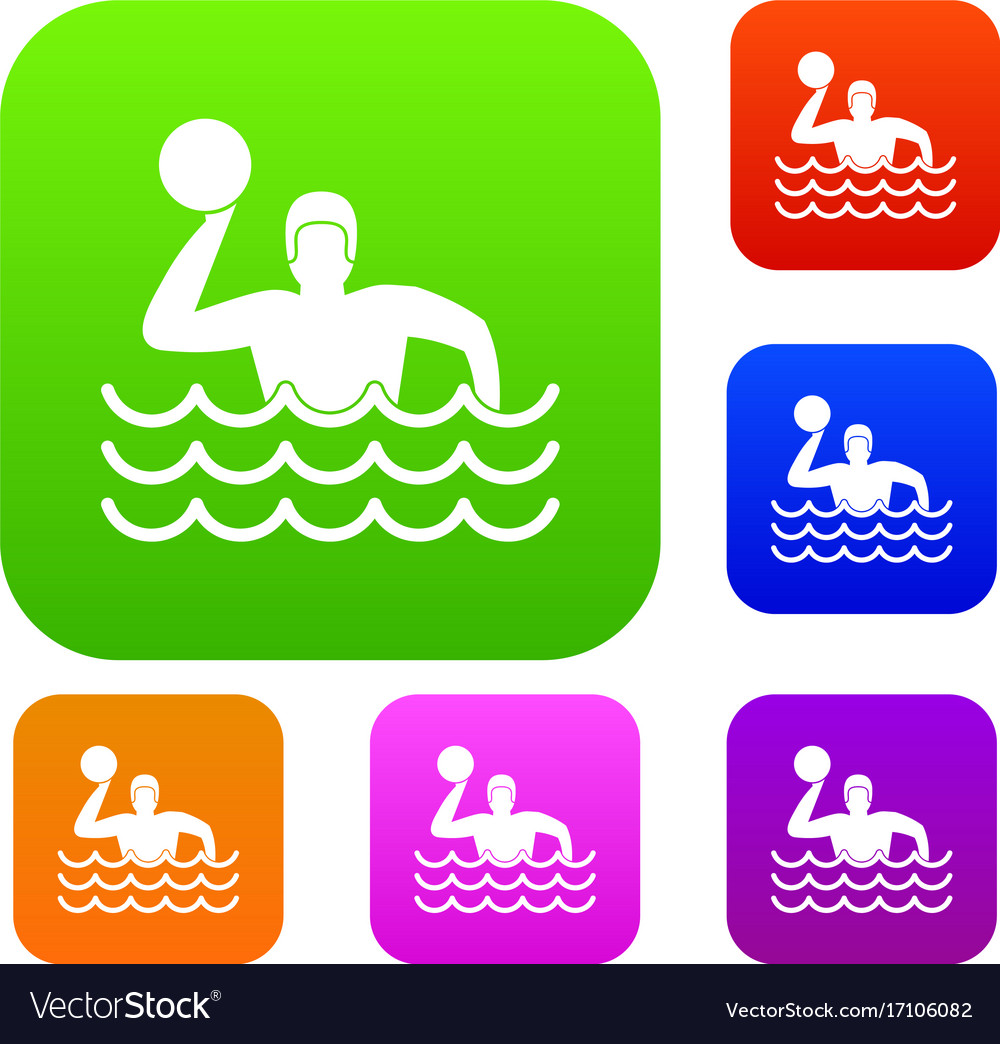 a355b7ac228bc Water polo set collection Royalty Free Vector Image