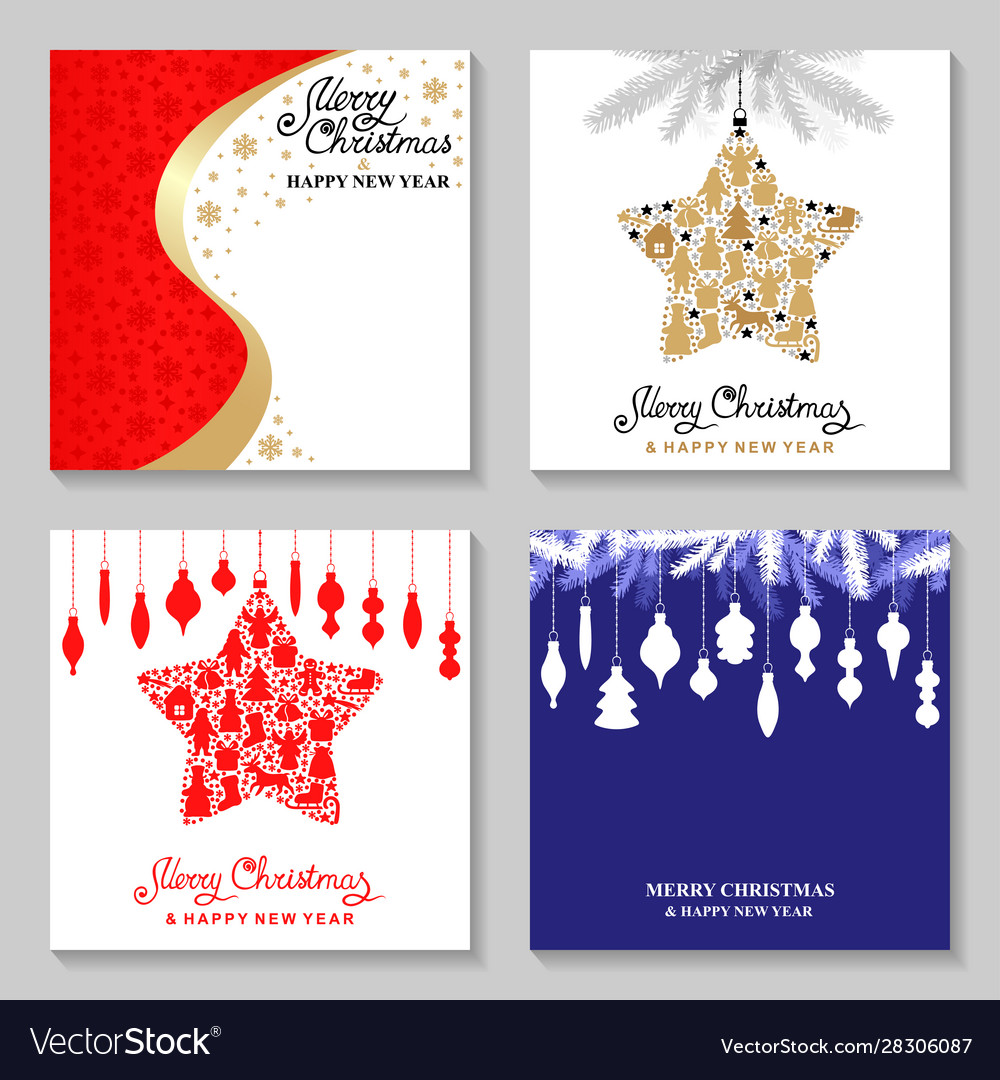 Christmas cards with decorative star and baubles