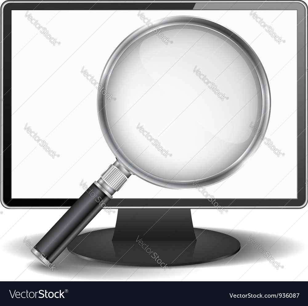 Computer monitor with magnifying glass vector image