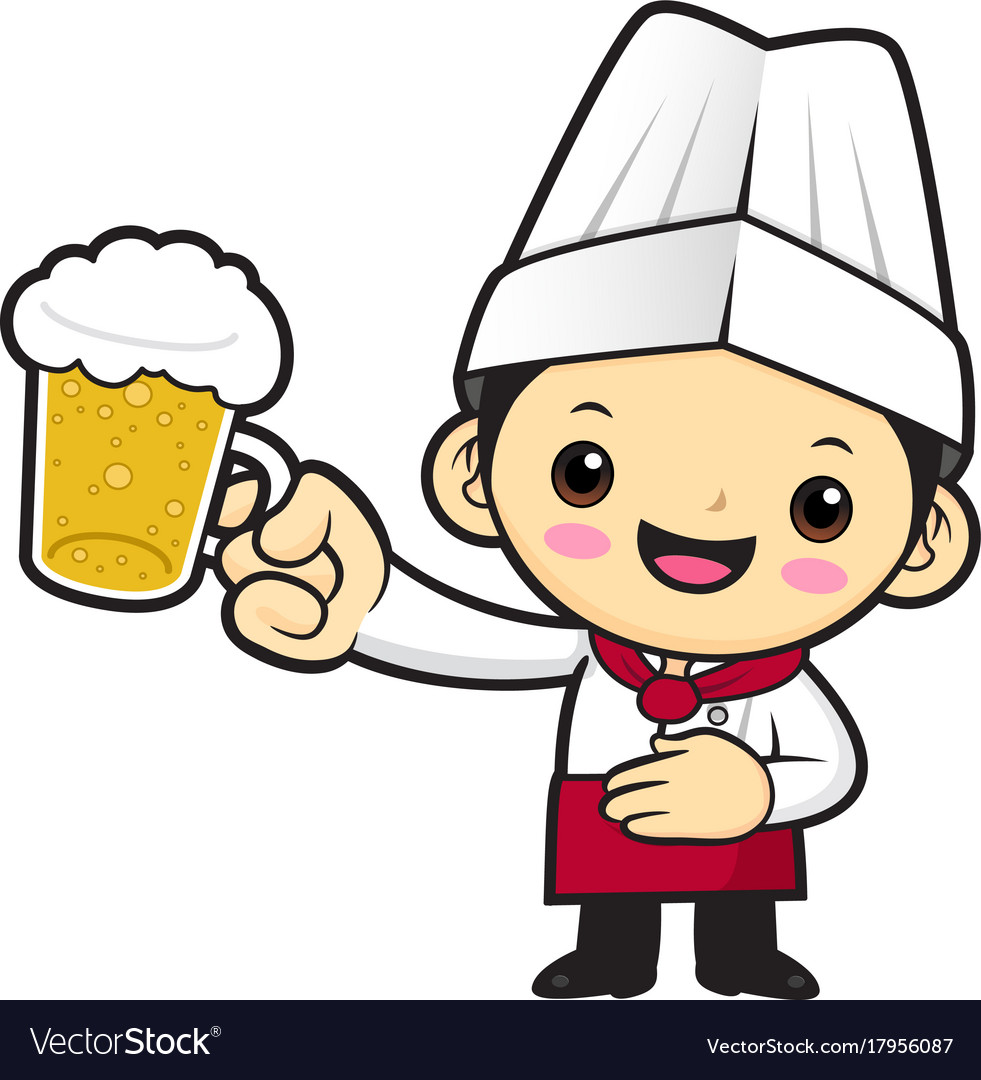 Cook character is holding the finest beer