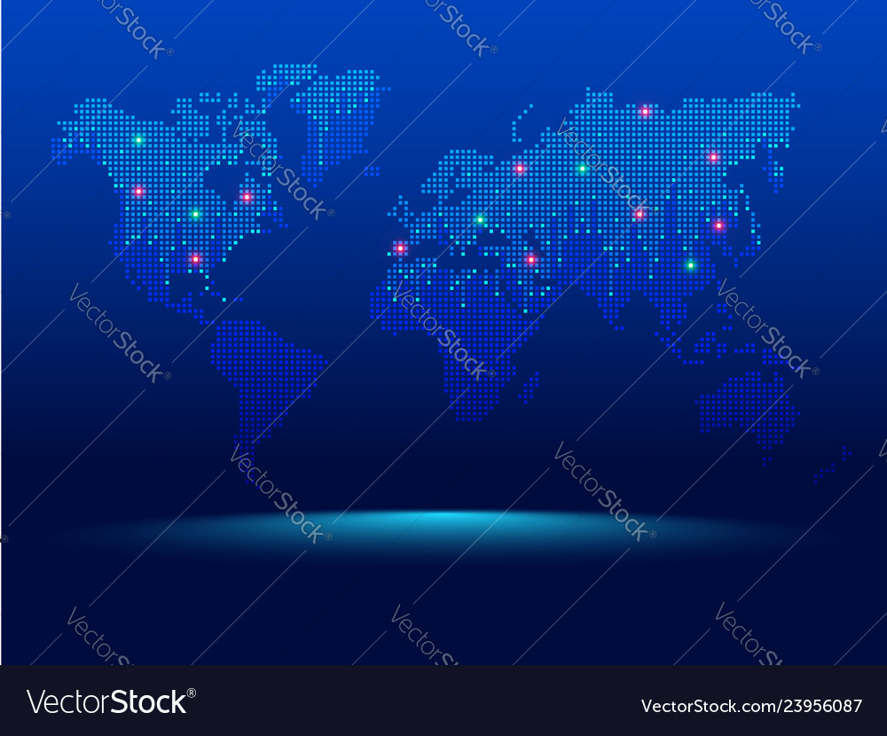 Digital world map dotted world map in futuristic