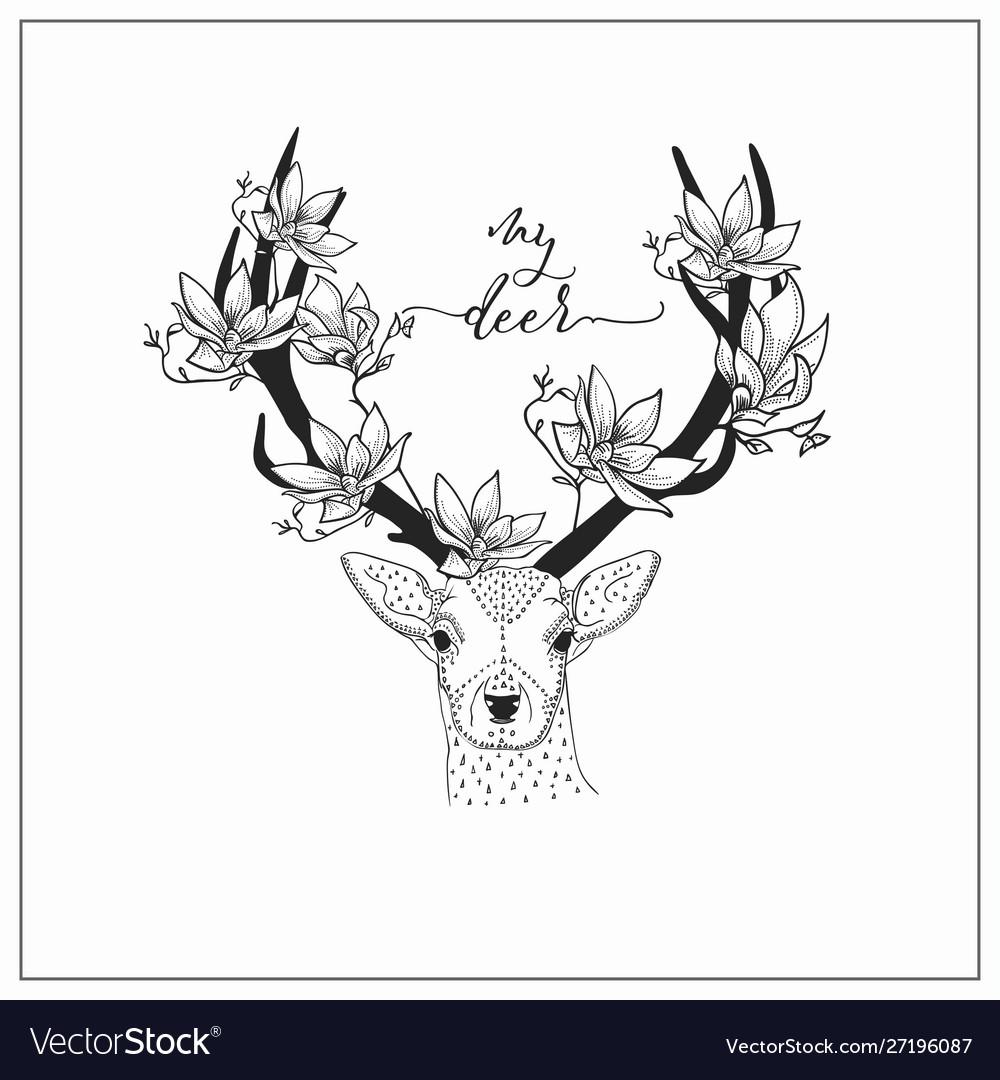 Hand drawn deer head logo
