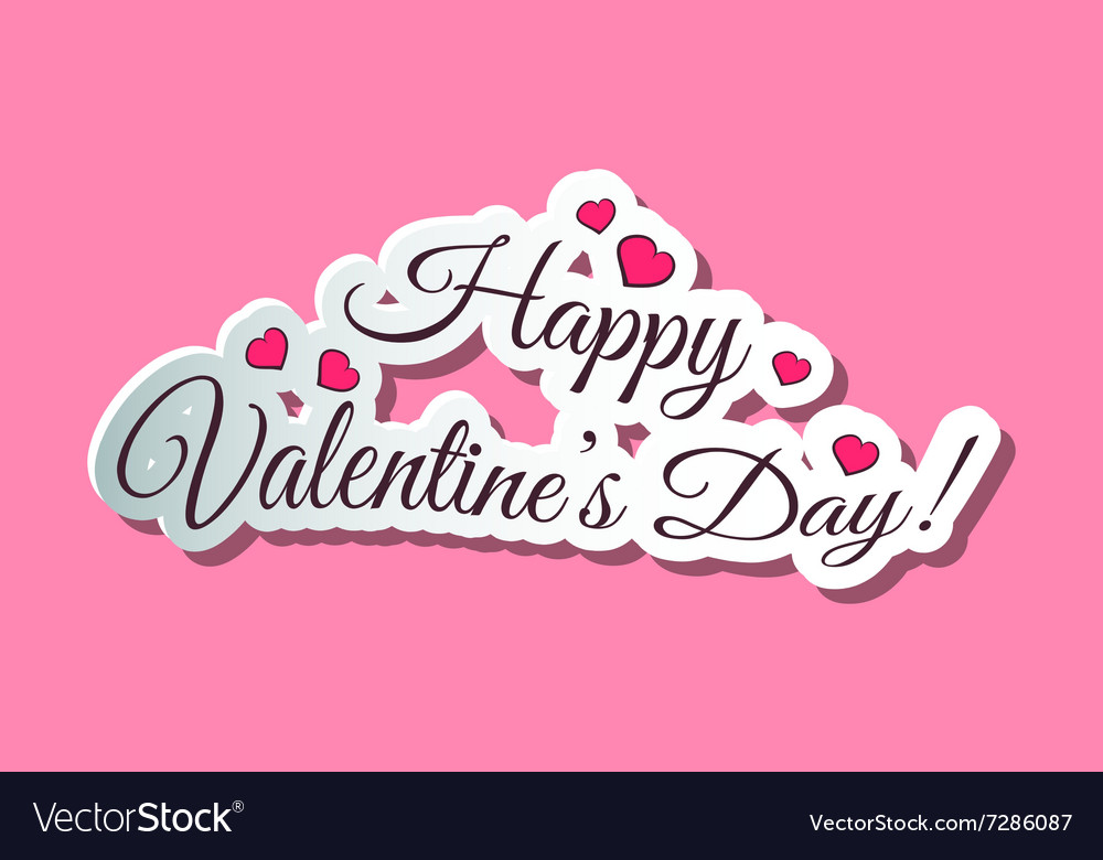 Happy Valentines Day Words Pink Royalty Free Vector Image