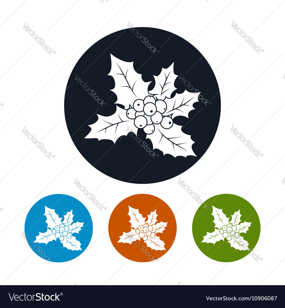 Icons Christmas Holly Berry vector image