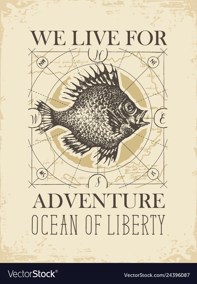 Retro travel banner with big fish and old map