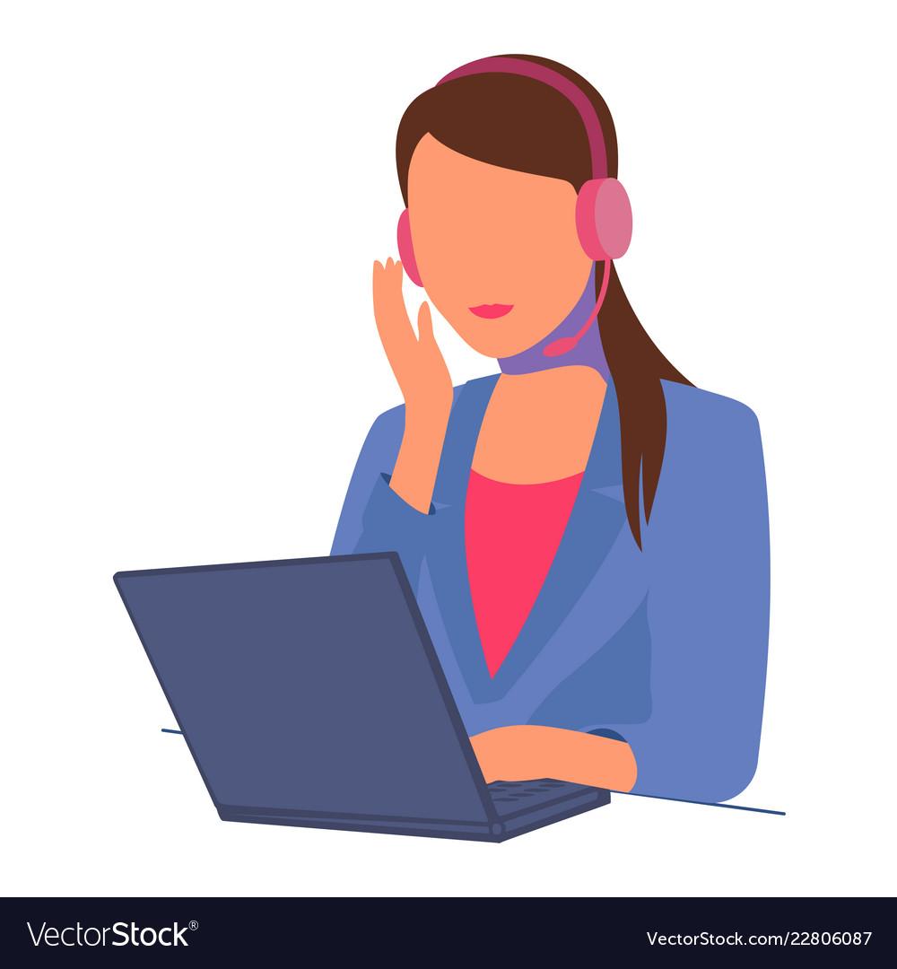 Secretary girl with laptop headphones