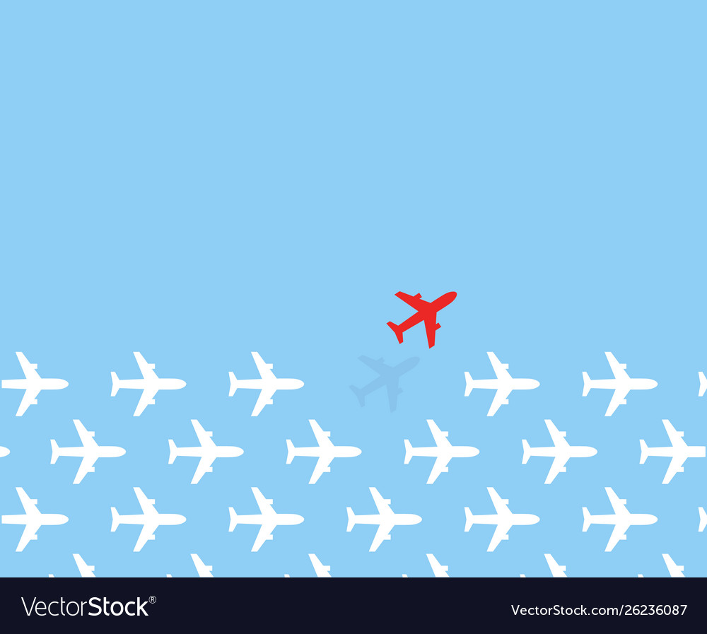White airplanes group fly in one direction and