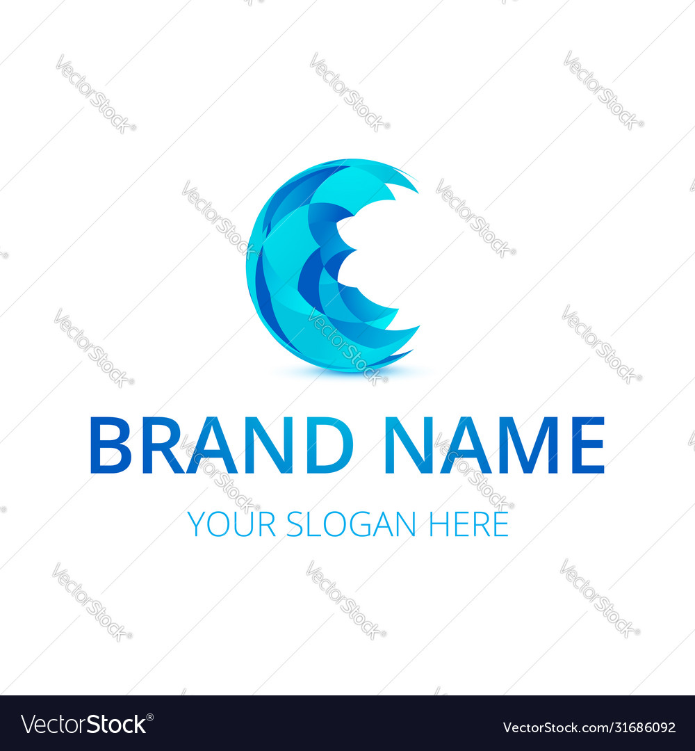 Abstract blue sphere logo design perfect to use