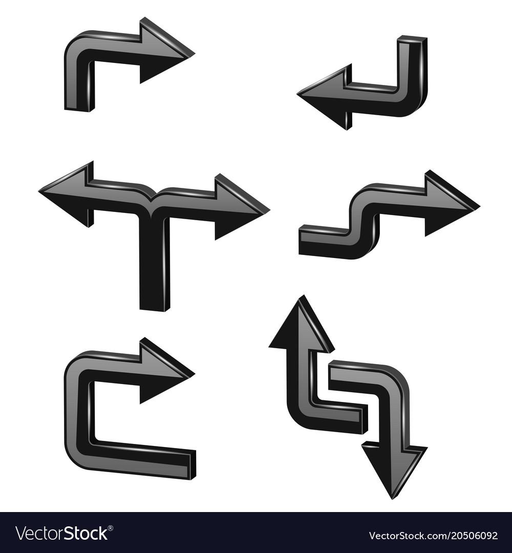 Black 3d arrows different directions