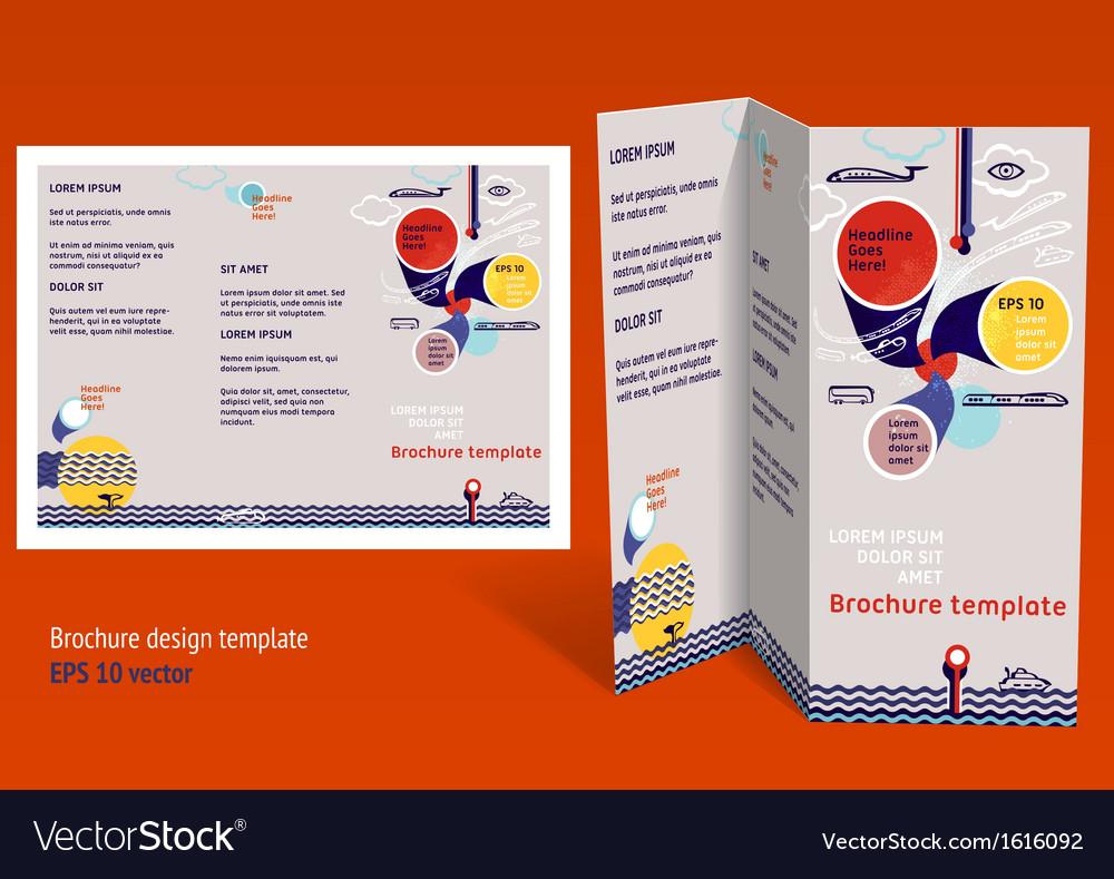 brochure booklet z fold layout editable design vector image