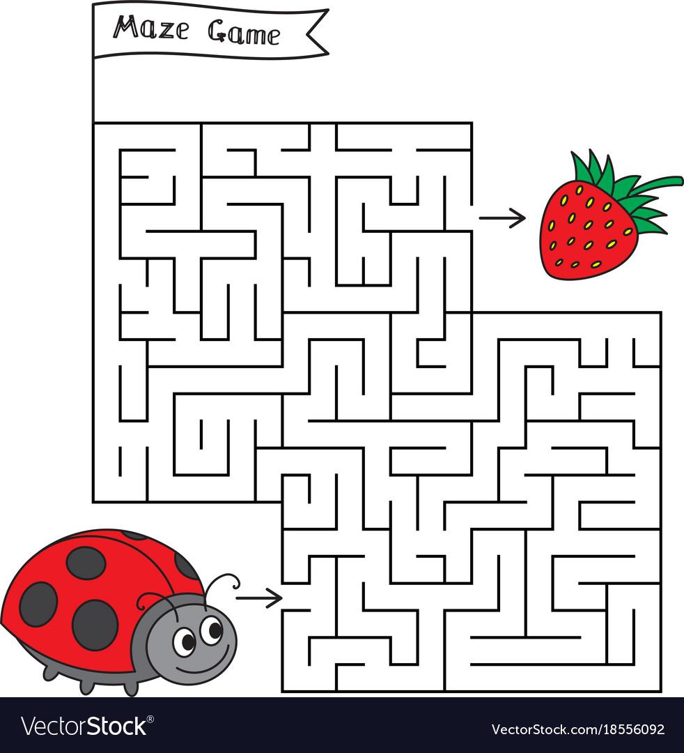 cartoon ladybug maze game royalty free vector image
