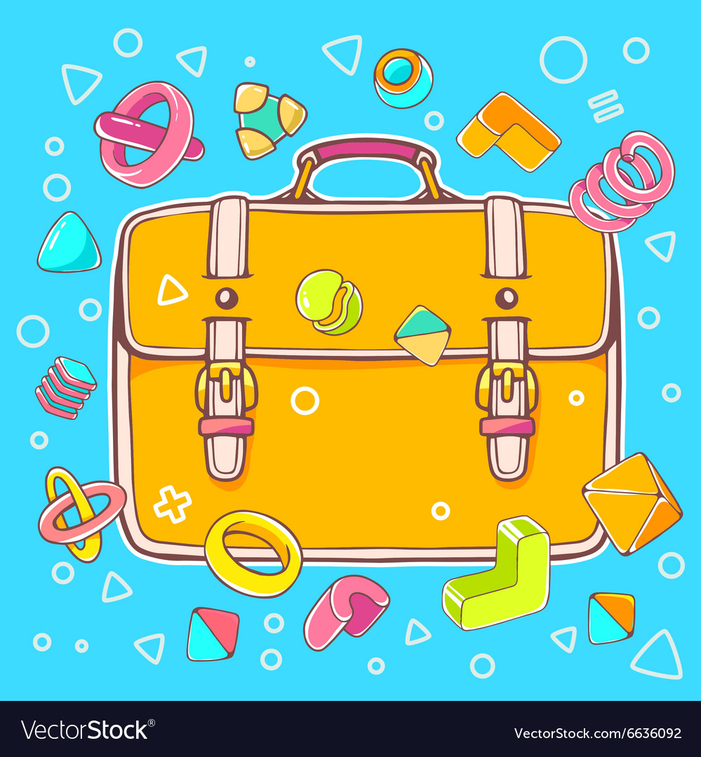 Colorful of yellow backpack on blue backgrou vector image