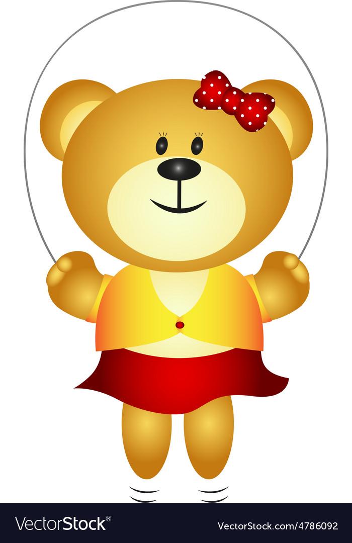 Cute Girl Cartoon Bear Playing Skipping Rope vector image