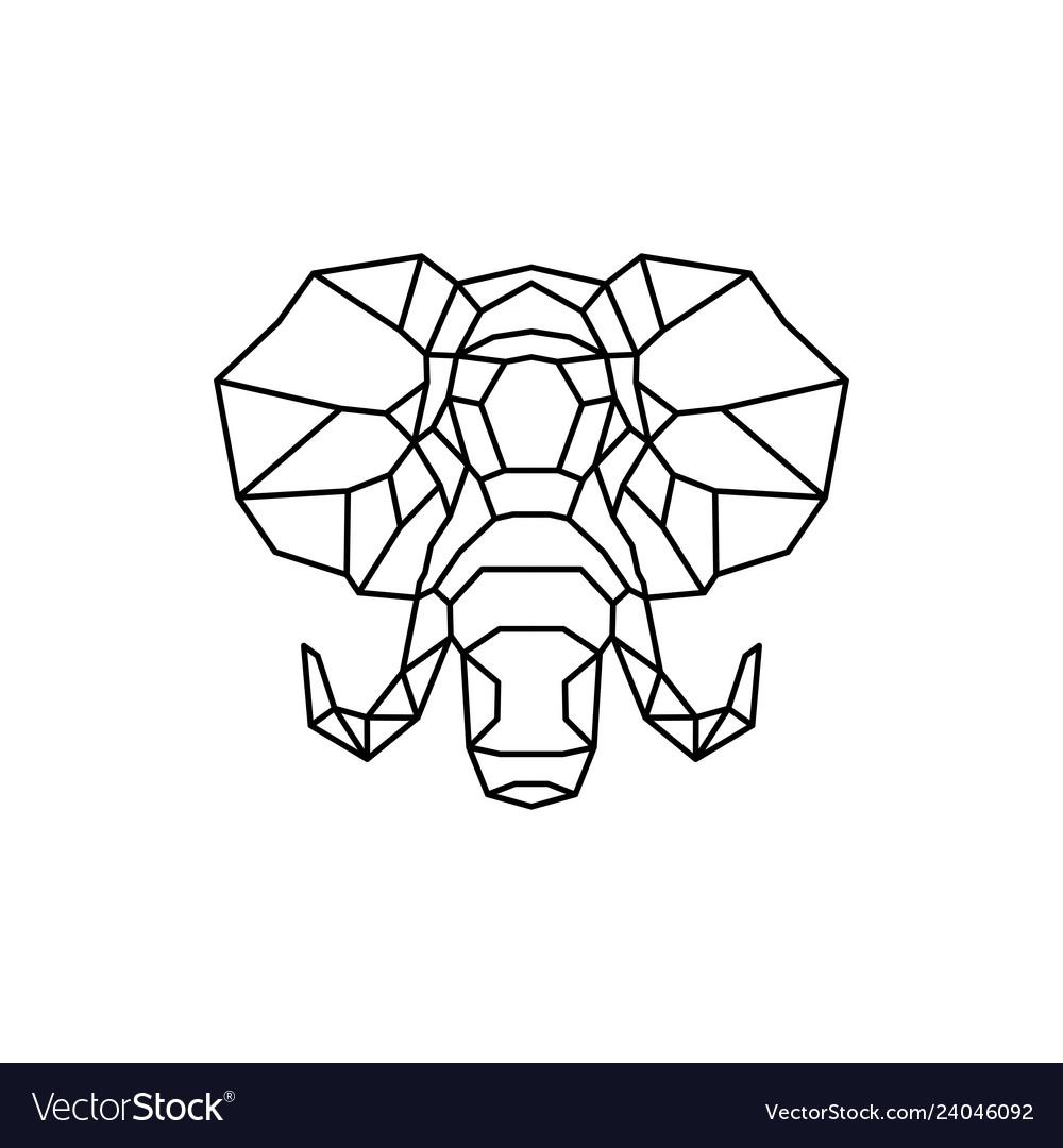 Elephant head logo geometric line