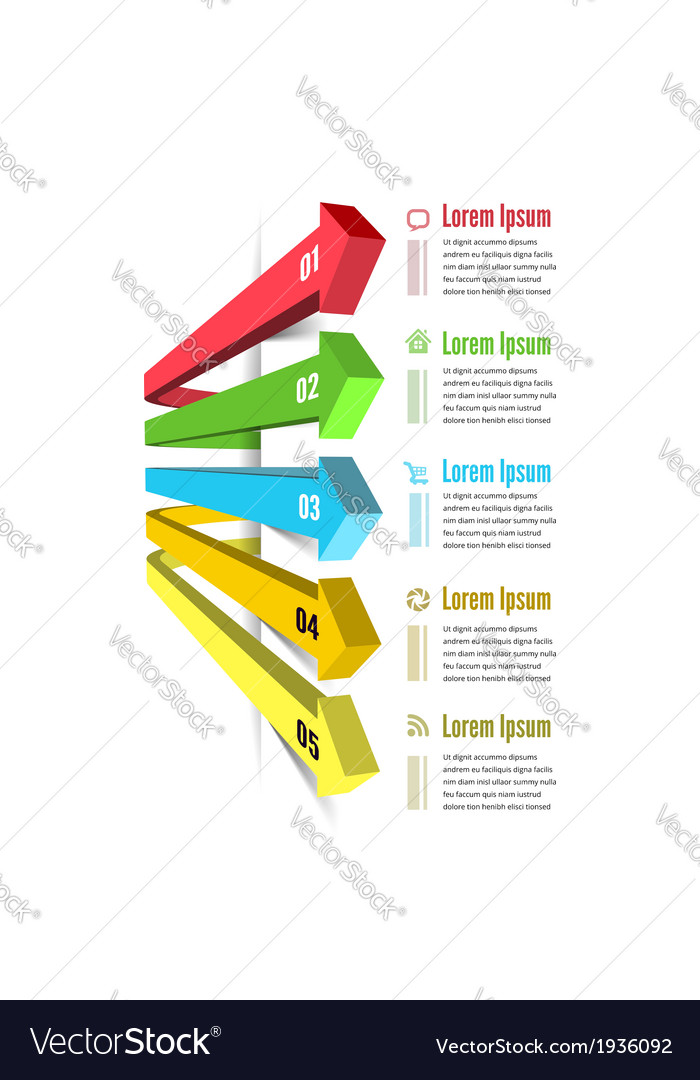 Infographic options with color arrow