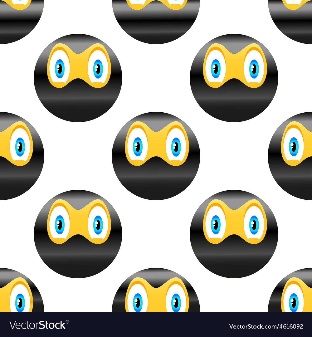 Ninja emoticon pattern vector image