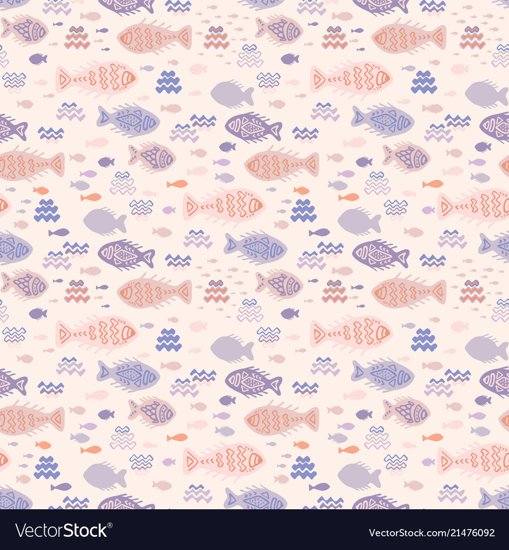 Pastel tiny fish doodles