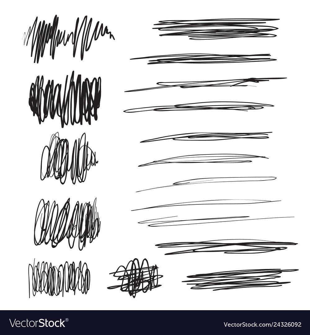 Scribble brush strokes set logo design