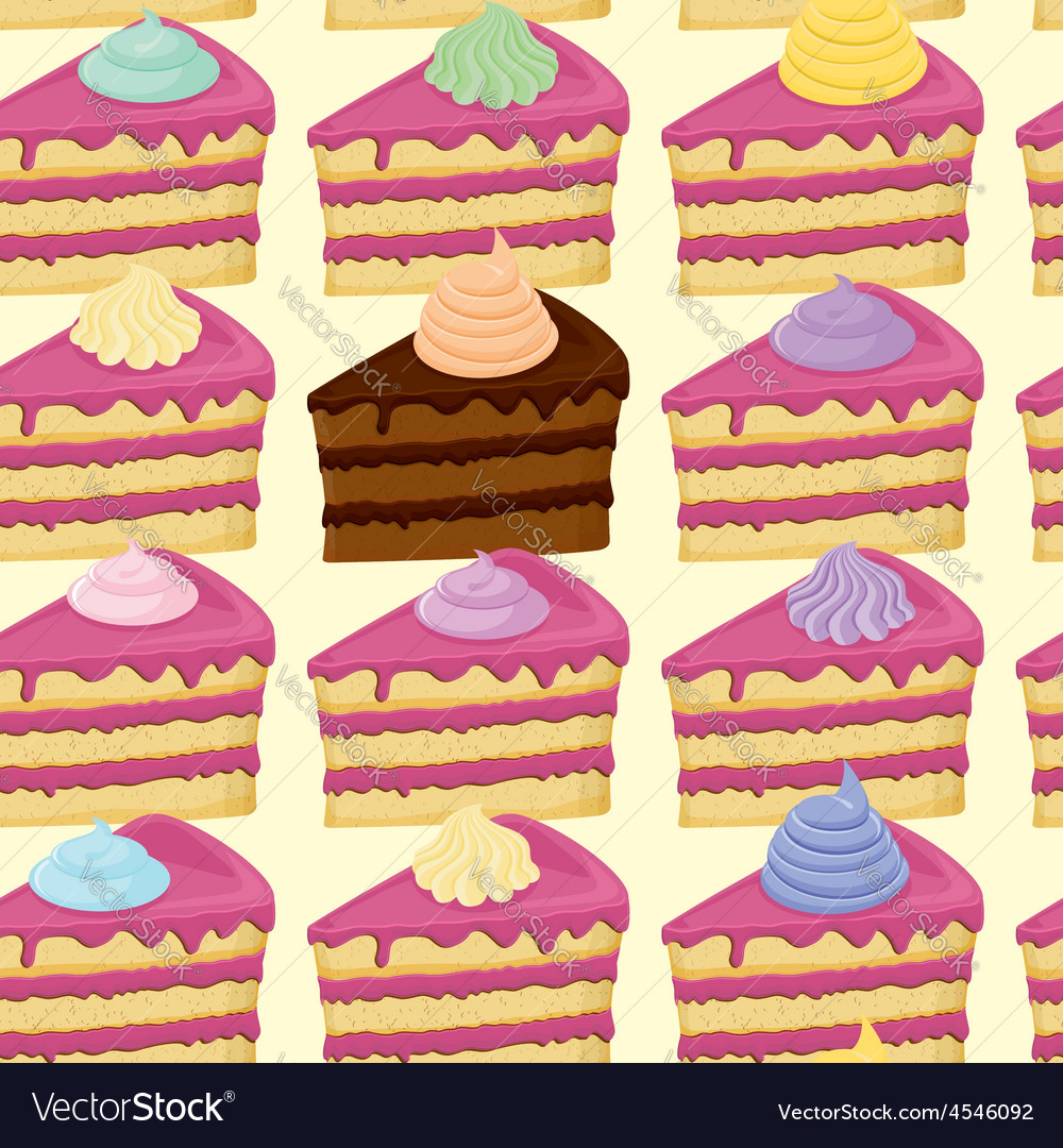 Seamless pattern with pieces of cakes
