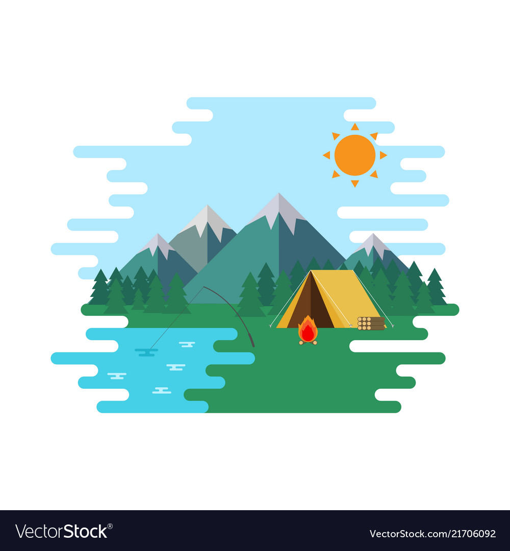 Summer camp landscape forrest with wellow tent in