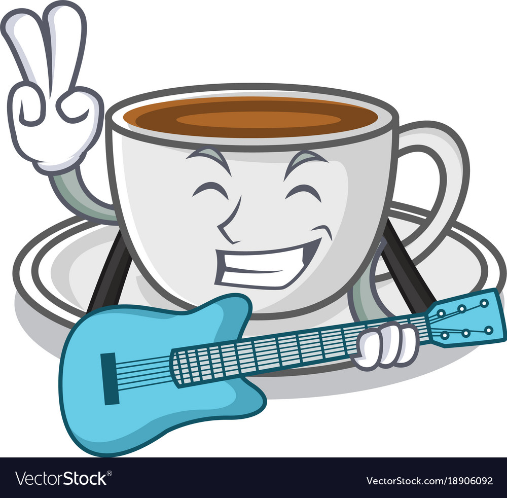 With guitar coffee character cartoon style