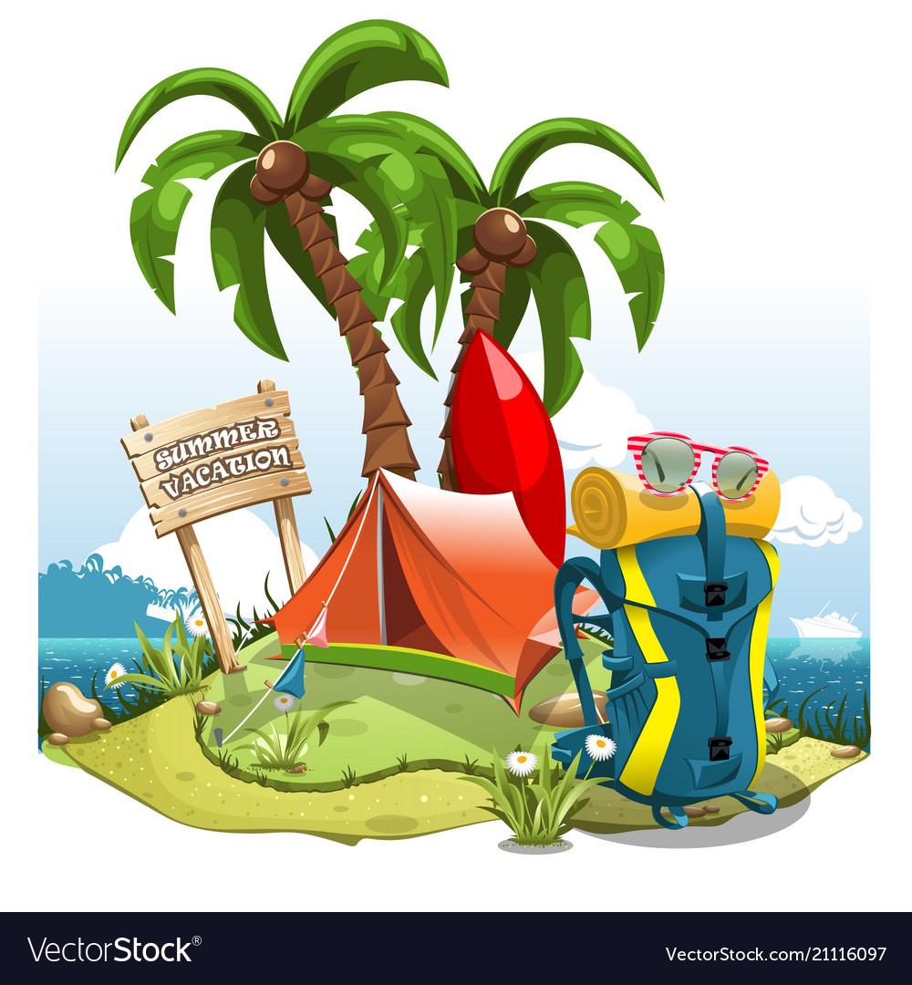 A cartoon green hill near the sea with palm trees